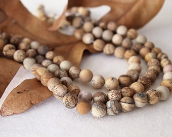 Strand Picture Jasper Frosted Round Gemstone Beads Natural Ochre Earth Size 8mm Quantity 47 Beads