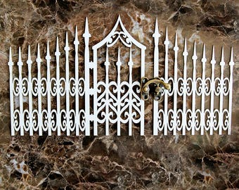 Reneabouquets Beautiful Board Large Gothic Gate With Metal Latch Laser Cut Chipboard Double Side Vintage White Coated