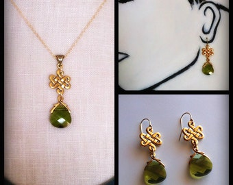 Gold Eternity Knot Necklace Woodland Green Crystal Pendant, Celtic Wedding, Outlander Bridal Jewelry Set Eternity Love Knot Earrings