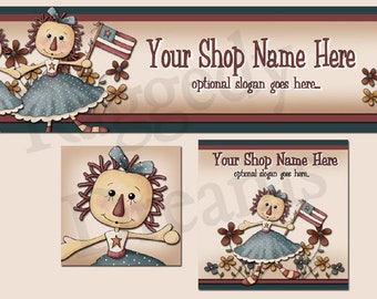 New! Premade Etsy Cover Photo - Large Etsy Banner - Etsy Shop Banner - Shop Profile - Primitive Raggedy Annie - Americana
