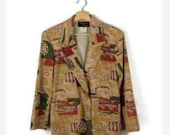 ON SALE Vintage Beige Abstract Slouchy Light Blazer  from 1980's*