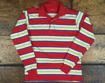 Vintage 70s Style Striped Long Sleeve Henley Polo Shirt Sz S