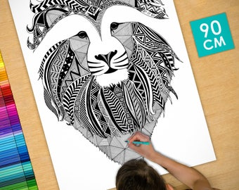 Poster / Poster deco coloring (90cm) Lion - coloring for adults