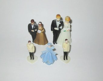 Vintage 1950s Wedding Cake Toppers / 50s Bride Groom Cake Toppers, Bridesmaid, Groomsman / 50s Wedding Cake Toppers