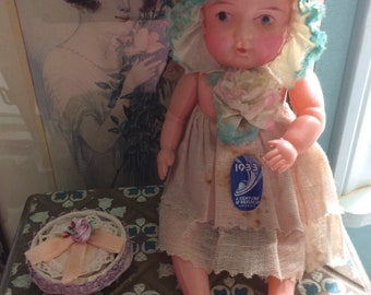 """1933 Chicago Worlds Fair Celluloid Doll, All Original with Sticker, 9"""" Tall, Very Rare Collectible!"""