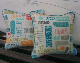 18x18 Indoor/outdoor nautical  Beach print pillow with piping and zipper