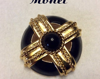 Vintage black and gold Monet circle brooch pin. Free ship to US.
