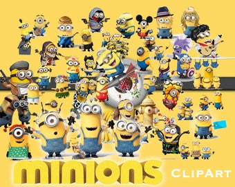 51 Minions ClipArt - Digital , PNG, image, picture,  oil painting, drawing,llustration, art , birthday,handicraft