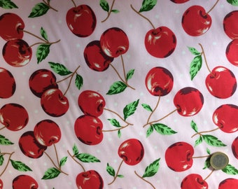 High quality cotton poplin, cherries on pink