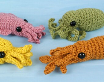 PDF Baby Cephalopods 1&2 - four amigurumi CROCHET PATTERNS Octopus Squid Cuttlefish Nautilus