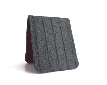 OhSoRetro Mens Wallet / Super Thin Billfold Wallet / Grey Pinstripe Wool / Non-Leather Wallet