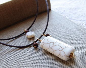 White Turquoise Necklace Multistrand Necklace Leather Jewelry Brown and White Necklace Freshwater Pearl Gold Magnesite Stone Jewelry