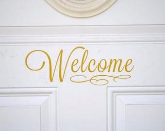 Welcome Front Door Vinyl Decal Sticker