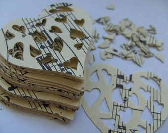 100, Vintage, Music sheets, love heart, paper, scrap booking, paper making, cream and black, by DoodleDee2
