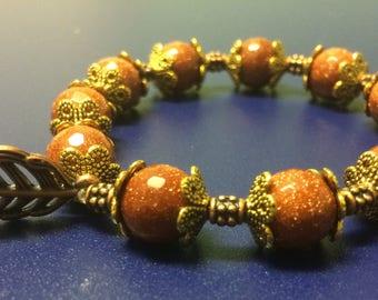 Goldstone Bracelet for Sacral Chakra 6.5 inches