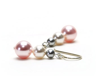 Stacked Pink and Gray Earrings - Rosaline, Classic White and Light Gray Swarovski Crystal Pearl and Sterling Silver Earrings