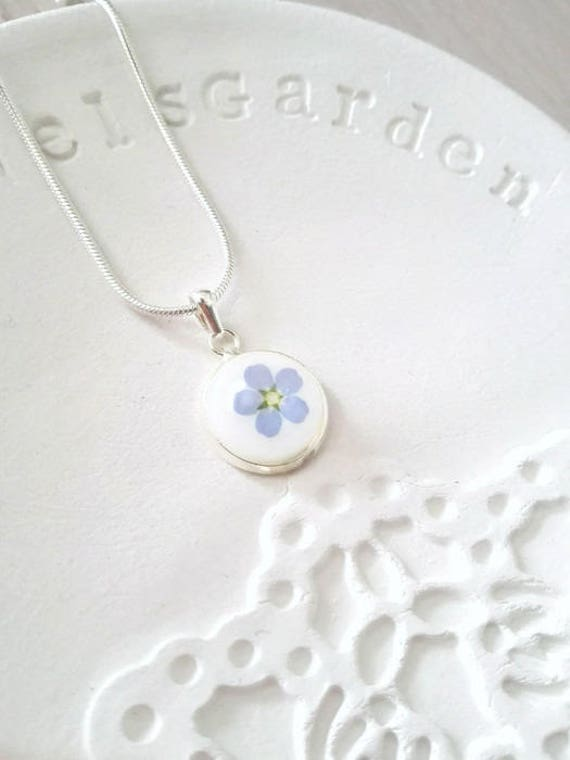 Pressed flower necklace grandma necklace blue Forget-me-not necklace Remembrance necklace Gift for her Birthday gift necklace for girlfriend