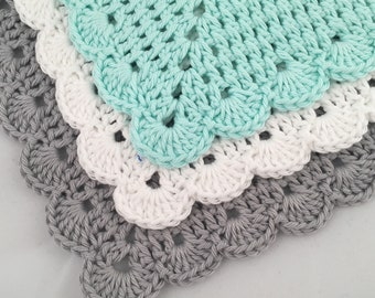 Crochet Washcloths Three Pack - Crochet Dishcloths