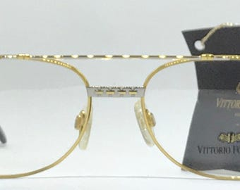Vittorio VF 205 / Vintage Eyeglasses / 22kt Gold And Silver / NOS Unworn / Made In Italy