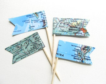 Vintage Map Pennant Flag Cupcake Toppers, Party Decor, Double-Sided, Travel Theme Weddings, Showers, Nautical, Set of 15