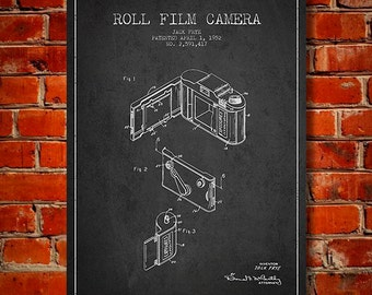 1952 Film Camera Patent, Canvas Print, Wall Art, Home Decor, Gift Idea