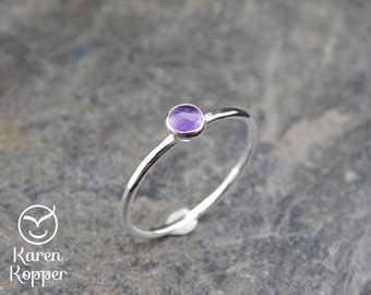 February birthstone ring - Amethyst Skinny sterling silver ring, 4mm stone, hammered, 1.2 mm ring. Skinny ring, thin ring, stacking ring.