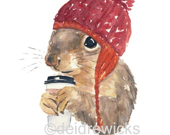 Coffee Squirrel - Watercolor Painting PRINT, Squirrel in a Hat, Coffee Illustration, Animal Art