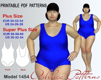Plus size Swimsuit PDF Pattern instant download for Women in sizes 24-34, Women's Swimwear, Swim Suits, Womens Bathing Suits Sewing Pattern