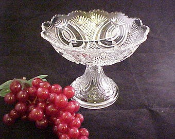 Antique Clear Compote in Hickman pattern by McKee Line 132, EAPG Early American Pressed Pattern Glass Circa 1890s, Old Serving Glassware