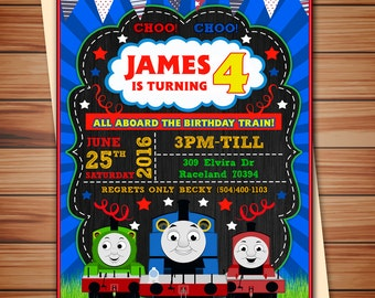 Little Train party invitation, Cute Little Train party digital chalkboard invitation, Train invitation, Thank you card free!