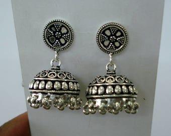 Traditional Design Sterling Silver Earrings Handmade Jhumki Earrings