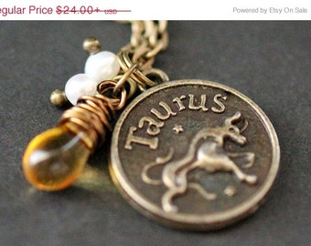 Taurus Necklace. Zodiac Necklace. Sun Sign Charm Necklace with Glass Teardrop and Pearls. Handmade Jewelry.
