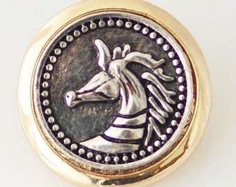 1 PC 18MM Horse Unicorn Silver Gold Snap Candy Charm KB6283 CC0483