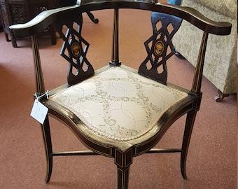 Antique Edwardian Mahogany Corner Chair