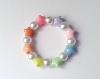 Size Small Pastel Rainbow Star Pearl Stretch Bracelet - Fairy Kei Bracelet Fairy Kei Jewelry Kawaii jewelry Pop Kei Jewelry Decora Bracelet