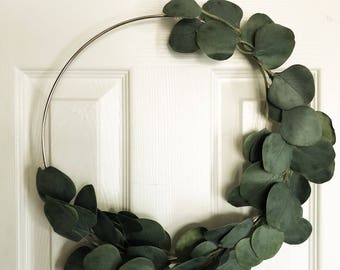 "Eucalyptus Wreath Modern Wreath Gift for Mom Mother's Day Simple Artificial 16"" Silver Metal Wreath Scandinavian Holiday Wreath Gift for Her"