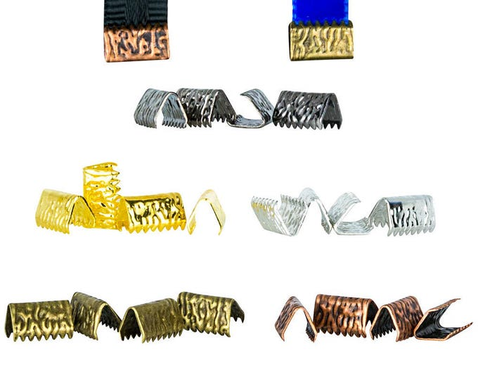 10mm or 3/8 inch NO loop Ribbon Clamps Ends Crimps - 20 pieces in Mixed Finishes - Artisan Series