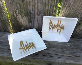 Personalized ring dish, custom ring holder, jewelry dish,  jewelry organizer, jewelry holder, Ring dish personalized with your name.