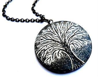 Black and White Tree of Life Necklace - Winter Hibernation