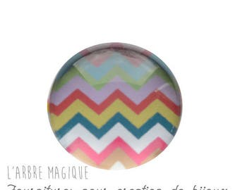 2 cabochons glue Chevron glass 20 mm M326