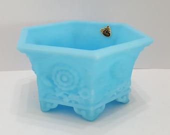 Vintage Blue Fenton Satin Glass Floral 6 Sided Planter Vase