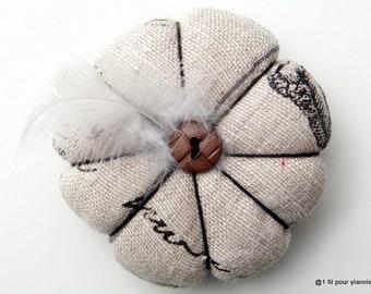 Spade - needles flower, small vintage printed linen cushion, pincushion.