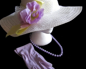 Springtime Tea Party Hat Set, English Garden, High tea, New Lady's Hat, Vintage Gloves, and Vintage necklace, Tea Party Hat, Wedding Hat
