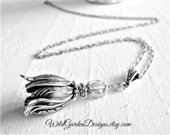 Victorian Style Tulip Necklace Vintage Inspired Silver Pendant Extra Long Bohemian Necklace Romantic Garden Inspired Tulip Flower Necklace