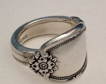 "Spoon Ring ""Rememberance"" Size 6 to 12 Choose Your Size Vintage Silverplate Silverware Jewelry"