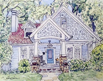 Custom House Painting House Portrait House Drawing Pen Ink and Watercolor House Painting Home Portrait Mattted SallysWatercolors