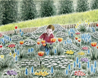 "REPRODUCTION of my original watercolor painting: ""Spring"""