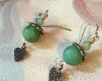 Jade green and sterling dangles