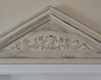 Primitive Pediment, Architectural Pediment,Door Pediment,Colonial Pediment,Shabby Door Topper,Ornamental Door Topper,French Country Pediment