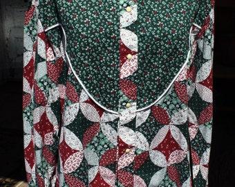 Vintage Mens Western Shirt, Size 17/35, Home Sewn, Yoke, Burgundy, Green,Snap Front,Flowering Snowball Print,Long Sleeves, FREE US Shipping